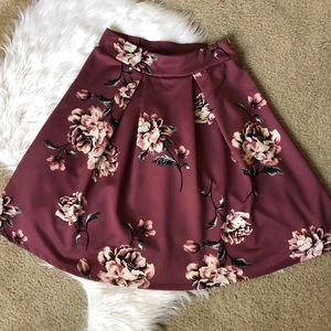 Pleated Mauve Floral Skirt
